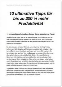 """Kostenloses eBook """"10 ultimative Tipps für bis zu 200% mehr Produktivität"""""""